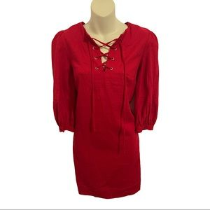 Who What Wear 3/4 Sleeve Lace Up Dress XS